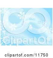 Blue Background With White Snowflakes by AtStockIllustration