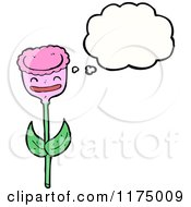 Cartoon Of A Pink Flower With A Conversation Bubble Royalty Free Vector Illustration by lineartestpilot