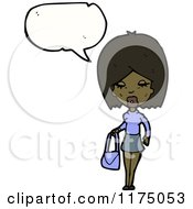 Cartoon Of An African American Girl With A Purse And A Conversation Bubble Royalty Free Vector Illustration by lineartestpilot