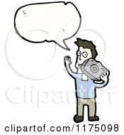 Cartoon Of A Man With A Camera Wearing A Blue Sweater With A Conversation Bubble Royalty Free Vector Illustration by lineartestpilot