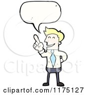 Cartoon Of A Man Wearing A Tie Pointing With A Conversation Bubble Royalty Free Vector Illustration