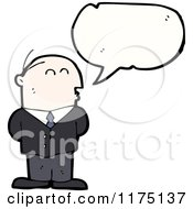 Cartoon Of A Man Wearing A Suit With A Conversation Bubble Royalty Free Vector Illustration