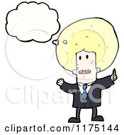 Cartoon Of A Man With An Afro Wearing A Tie With A Conversation Bubble Royalty Free Vector Illustration