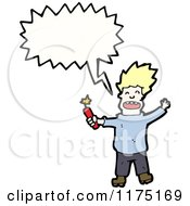 Cartoon Of A Man Holding Dynamite Wearing A Blue Sweater With A Conversation Bubble Royalty Free Vector Illustration