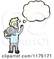 Cartoon Of A Man Holding A Camera Wearing A Blue Sweater With A Conversation Bubble Royalty Free Vector Illustration by lineartestpilot