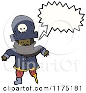 Cartoon Of A Black Pirate With A Wooden Leg Conversation Bubble Royalty Free Vector Illustration
