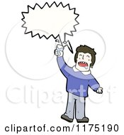 Cartoon Of A Man Wearing A Blue Sweater Drinking Soda With A Conversation Bubble Royalty Free Vector Illustration by lineartestpilot