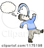 Cartoon Of A Man Spitting And Wearing A Blue Sweater With A Conversation Bubble Royalty Free Vector Illustration