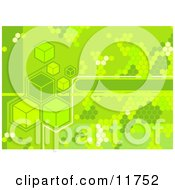 Green Cubes And Octagons Clipart Illustration
