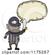 Cartoon Of A Black Pirate With A Sword And A Conversation Bubble Royalty Free Vector Illustration