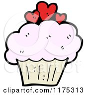 Cartoon Of A Pink Cupcake With Red Hearts Royalty Free Vector Illustration by lineartestpilot