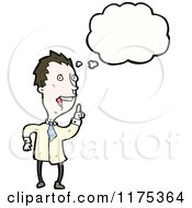 Cartoon Of A Scientist With A Conversation Bubble Royalty Free Vector Illustration