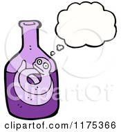 Cartoon Of A Bottle With A Snake And A Conversation Bubble Royalty Free Vector Illustration by lineartestpilot