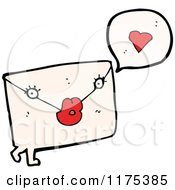 Cartoon Of A Love Letter With A Heart And A Conversation Bubble Royalty Free Vector Illustration