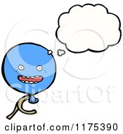 Cartoon Of A Blue Balloon With A Conversation Bubble Royalty Free Vector Illustration