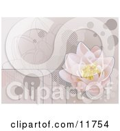 Pale Pink Lotus Waterlily Background Clipart Illustration