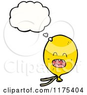Cartoon Of A Yellow Balloon With A Conversation Bubble Royalty Free Vector Illustration