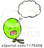 Cartoon Of A Green Balloon With A Conversation Bubble Royalty Free Vector Illustration