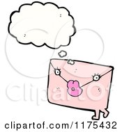 Cartoon Of A Pink Letter With A Conversation Bubble Royalty Free Vector Illustration