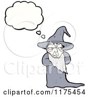 Cartoon Of An Old Wizard With A Conversation Bubble Royalty Free Vector Illustration