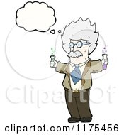 Cartoon Of A Scientist Holding Beakers With A Conversation Bubble Royalty Free Vector Illustration