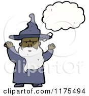 Cartoon Of An Old African American Wizard With A Conversation Bubble Royalty Free Vector Illustration