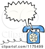 Cartoon Of A Blue Landline Telephone With A Conversation Bubble Royalty Free Vector Illustration