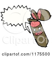 Cartoon Of A Sausage With A Conversation Bubble Royalty Free Vector Illustration