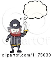 Cartoon Of A Pirate With A Sword And A Conversation Bubble Royalty Free Vector Illustration