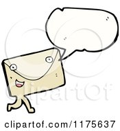 Cartoon Of A Letter With A Conversation Bubble Royalty Free Vector Illustration