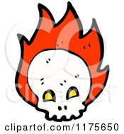 Cartoon Of A Skull With Flames And A Conversation Bubble Royalty Free Vector Illustration