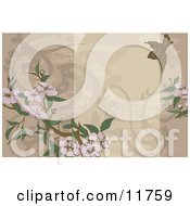 Beige Website Background With A Bird And Flowers by AtStockIllustration