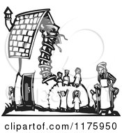 Cartoon Of An Old Woman With Kids At A Shoe House Black And White Woodcut Royalty Free Vector Clipart