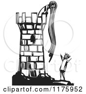 Clipart Of Rapunzel Throwing Down Her Hair To A Knight Black And White Woodcut Royalty Free Vector Illustration