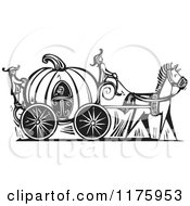 Clipart Of Cinderella In A Pumpkin Carriage Black And White Woodcut Royalty Free Vector Illustration