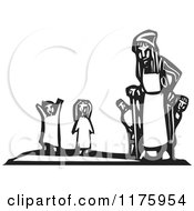 Clipart Of An Old Woman With Little Children Black And White Woodcut Royalty Free Vector Illustration