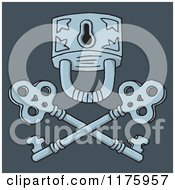 Cartoon Of A Jolly Roger Padlock And Crossed Keys On Blue Royalty Free Vector Clipart