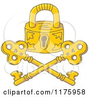 Cartoon Of A Golden Jolly Roger Padlock And Crossed Keys Royalty Free Vector Clipart