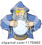 Cartoon Of A Wizard Looking Into A Crystal Ball Royalty Free Vector Clipart