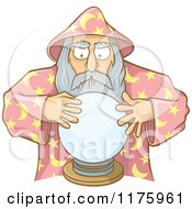 Cartoon Of An Old Wizard Looking Into A Crystal Ball Royalty Free Vector Clipart