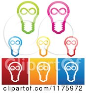 Clipart Of Colorful Infinite Idea Lightbulb Designs Royalty Free Vector Illustration