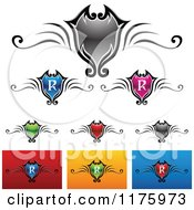 Clipart Of Colorful Royalty Shield Designs Royalty Free Vector Illustration by cidepix