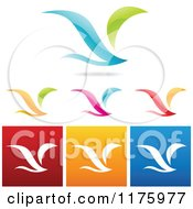 Clipart Of Colorful Flying Bird Designs Royalty Free Vector Illustration by cidepix