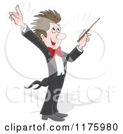 Cartoon Of A Happy Music Conductor Holding Up A Finger And Waving A Baton Royalty Free Vector Clipart
