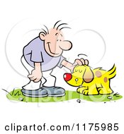 Cartoon Of A Happy Man Petting His Dog Royalty Free Vector Clipart by Johnny Sajem