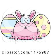Cartoon Of A Happy Chubby Easter Bunny With Eggs Royalty Free Vector Clipart by Cory Thoman