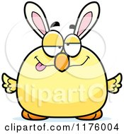 Cartoon Of A Drunk Easter Chick With Bunny Ears Royalty Free Vector Clipart by Cory Thoman