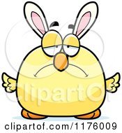 Cartoon Of A Depressed Easter Chick With Bunny Ears Royalty Free Vector Clipart by Cory Thoman