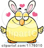 Cartoon Of A Loving Easter Chick With Bunny Ears Royalty Free Vector Clipart by Cory Thoman