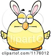 Cartoon Of A Bored Easter Chick With Bunny Ears Royalty Free Vector Clipart by Cory Thoman